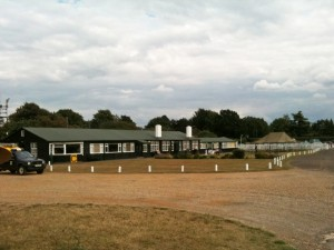 The clubhouse and bar in wodden huts at White Waltham